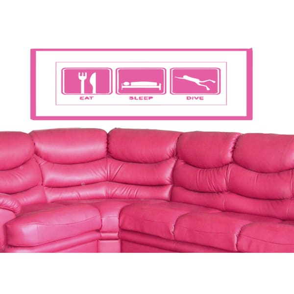 Eat Sleep Dive Wall Art Sticker Decal Pink
