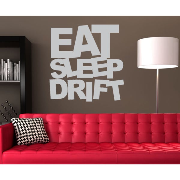 Eat Sleep Drift Wall Art Sticker Decal White