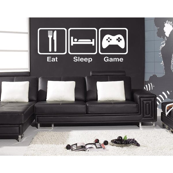 Eat Sleep Game Wall Art Sticker Decal White