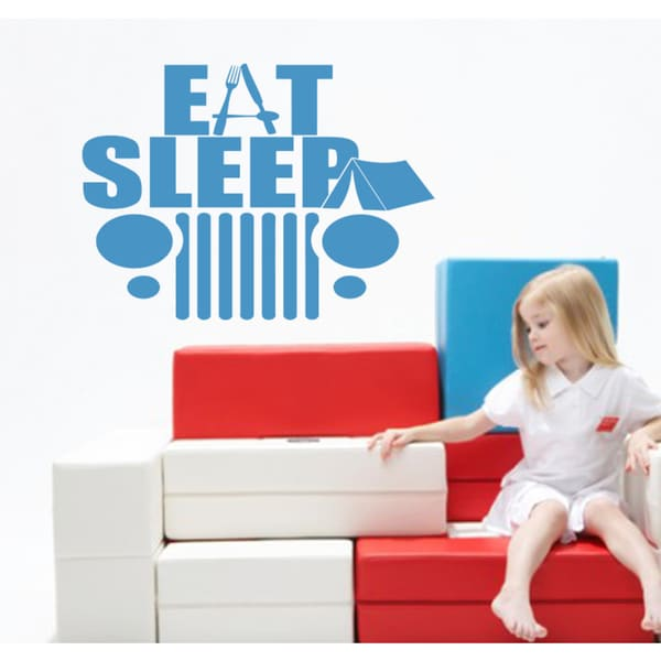 Eat Sleep Camp Car Wall Art Sticker Decal Blue