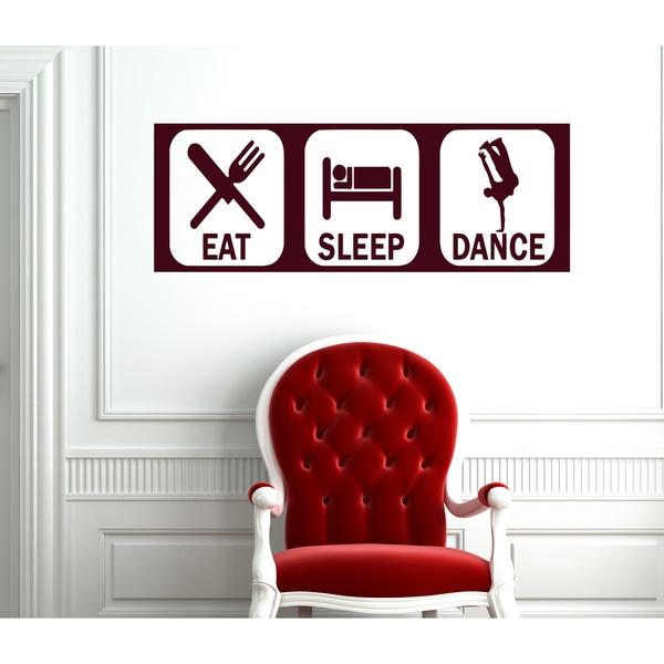 Eat Sleep Dance Wall Art Sticker Decal Brown