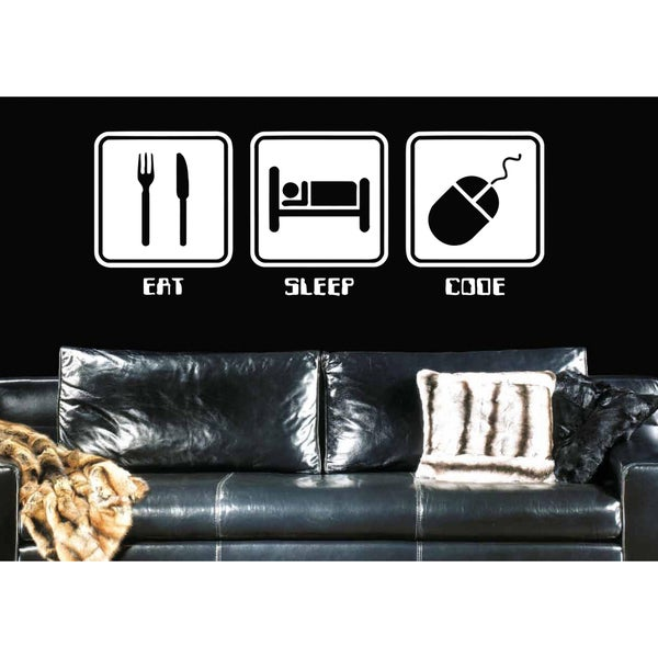 Eat Sleep Code Wall Art Sticker Decal White