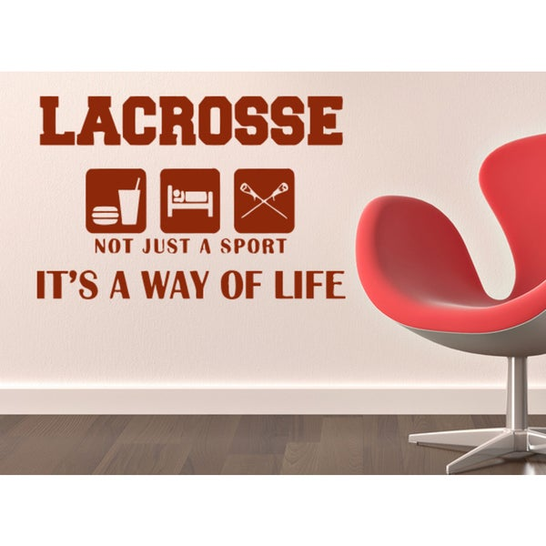 Eat Sleep Sport Lacrosse Wall Art Sticker Decal Red
