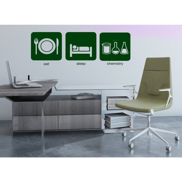 Eat Sleep Chemistry Wall Art Sticker Decal Green