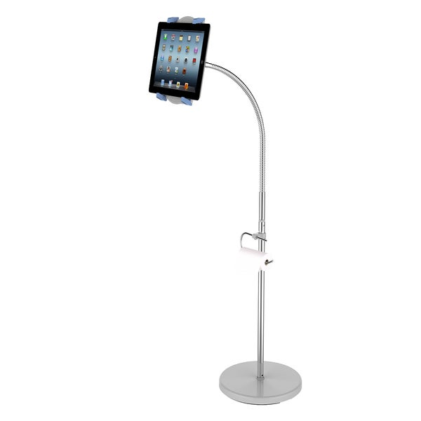 Loctek X9 Height Adjustable Floor Tablet Holder Pad Pedestal Stand Mount with Toilet Paper Holder For 7-12-inch Tablets