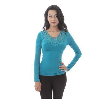Soho Women Long Sleeves Neck Crochet Top