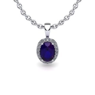 10k White Gold 1 1/4ct Oval Shape Amethyst and Halo Diamond Necklace with 18-inch Chain