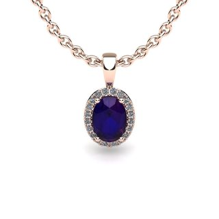 14k Rose Gold 3/4ct Oval Shape Amethyst and Halo Diamond Necklace with 18-inch Chain