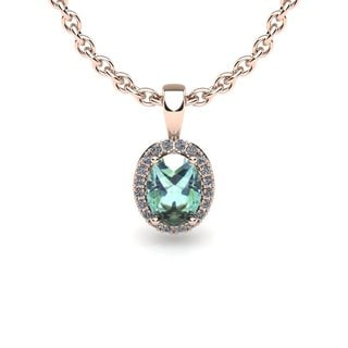 14k Rose Gold 3/4ct Oval Shape Green Amethyst and Halo Diamond Necklace with 18-inch Chain