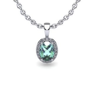 14k White Gold 3/4ct Oval Shape Green Amethyst and Halo Diamond Necklace with 18-inch Chain