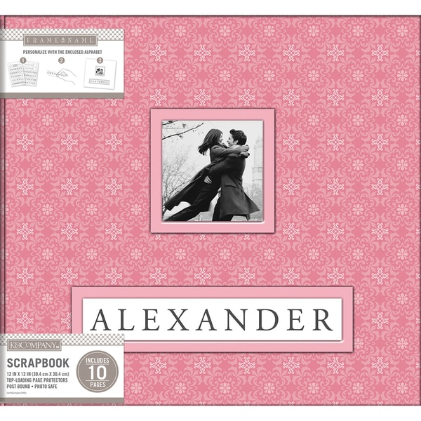 K&Company Frame A Name Post Bound Album 12inX12in Pink