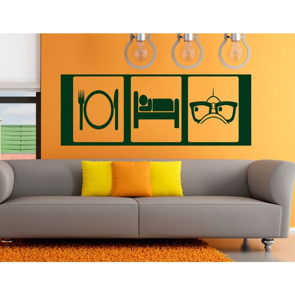 Eat Sleep Glasses Viewing Wall Art Sticker Decal Green