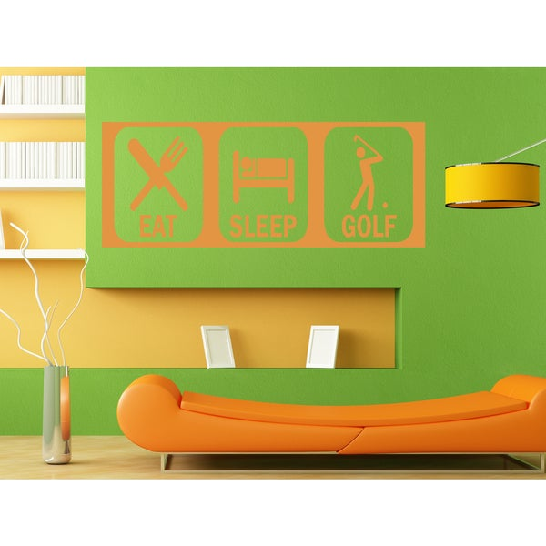 Eat Sleep Golf Wall Art Sticker Decal Orange