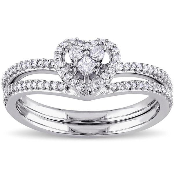 Miadora 10k White Gold 1/3ct TDW Princess-cut Diamond Heart Shaped Bridal Ring Set 18095629
