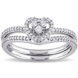 Miadora 10k White Gold 1/3ct TDW Princess-cut Diamond Heart Shaped Bridal Ring Set (G-H, I2-I3)