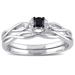 Miadora 10k White Gold 1/6ct TDW Black and White Diamond Infinity Bridal Ring Set (G-H, I2-I3)