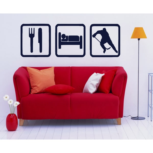 Eat Sleep Hockey Stick Game Wall Art Sticker Decal