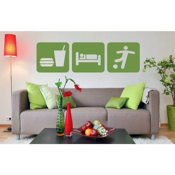 Eat Sleep Game Soccer Ball Wall Art Sticker Decal Green