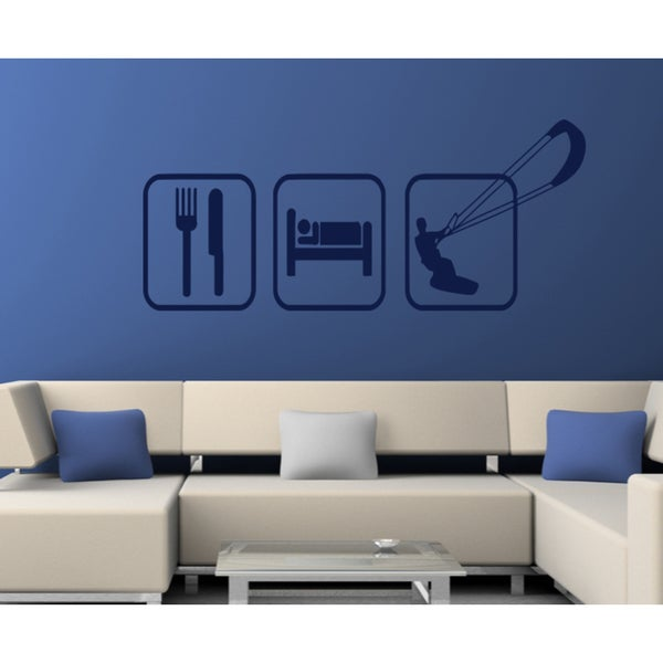 Eat Sleep Sky Dragon Game Wall Art Sticker Decal Blue
