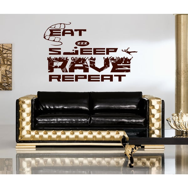 Eat Sleep Rave Repeat Wall Art Sticker Decal Brown