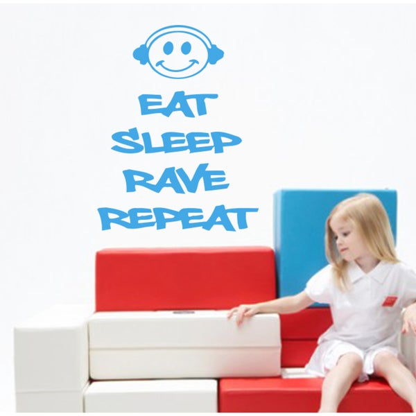 Eat Sleep Rave Repeat Wall Art Sticker Decal Blue