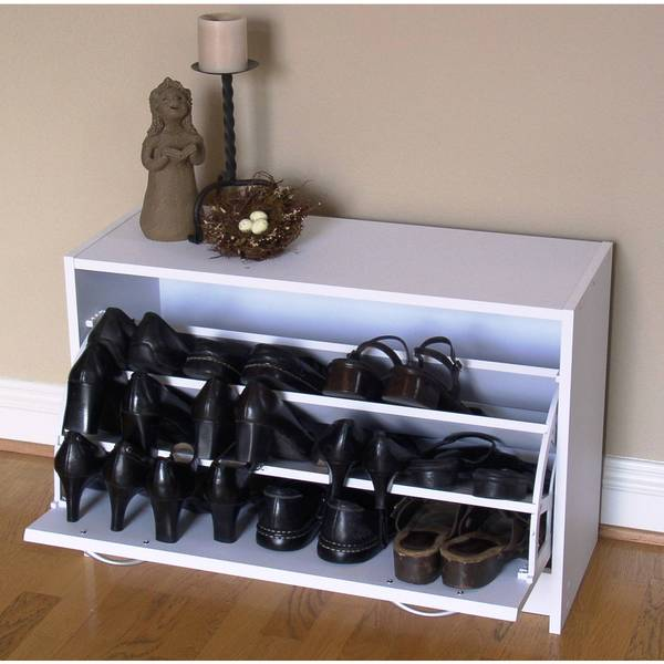 Deluxe White Single Shoe Cabinet