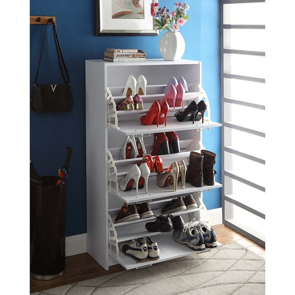 Deluxe White Triple Shoe Cabinet