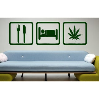 Eat Sleep Work Wall Art Sticker Decal Green