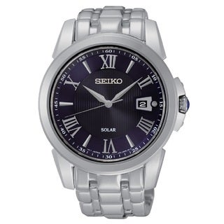 Seiko Men's SNE395 Stainless Steel Le Grand Sport Blue Dial Solar Watch with a Sapphire Crystal and 10 Month Power Reserve