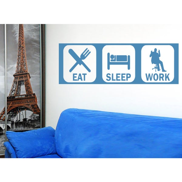 Eat Sleep Work Wall Art Sticker Decal Blue