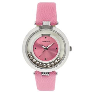 Ellen Tracy Women's ET5200 Pink Strap Silverplated Mother of Pearl Watch