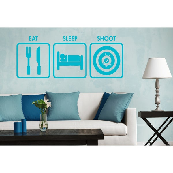 Eat Sleep Shoot Wall Art Sticker Decal Blue