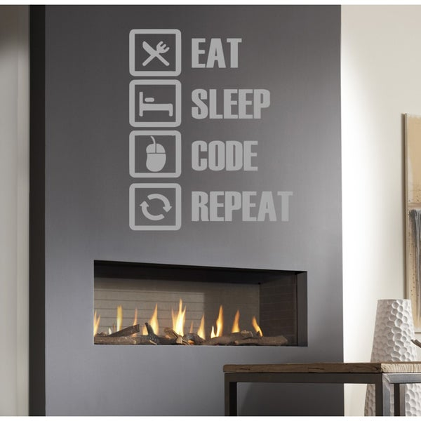 Eat Sleep Code Repeat Wall Art Sticker Decal White