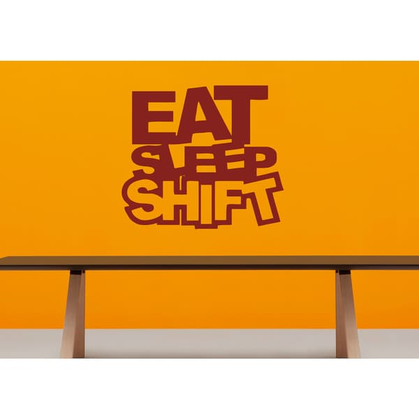 Eat Sleep Shift Kids Wall Art Sticker Decal Red