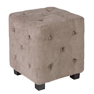 Better Living Delphia Tan-Grey Small Tufted Cube Ottoman