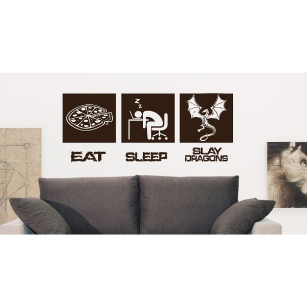 Eat Sleep Slay Dragons Wall Art Sticker Decal Brown