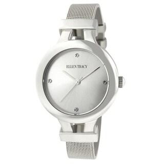 Ellen Tracy Women's ET5232 Slim Silverplated Mesh Watch