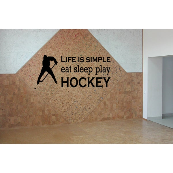 Eat Sleep Play Hockey Kids Wall Art Sticker Decal