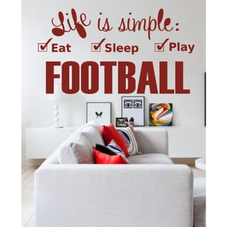 Eat Sleep Play Football Wall Art Sticker Decal Red