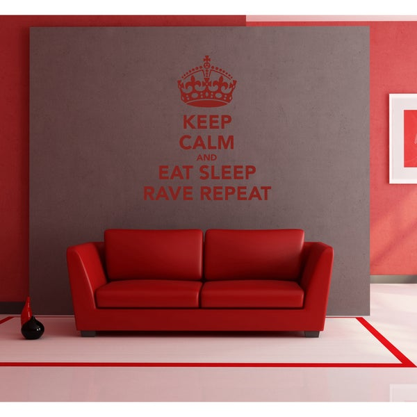 Eat Sleep Reve Repeat Wall Art Sticker Decal Red
