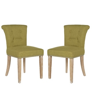 Better Living Lambert Rolled Back Dining Chairs in Lime Green Linen (Set of 2)
