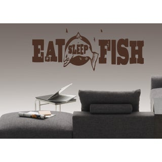 Eat Sleep Fish Kids Wall Art Sticker Decal Brown