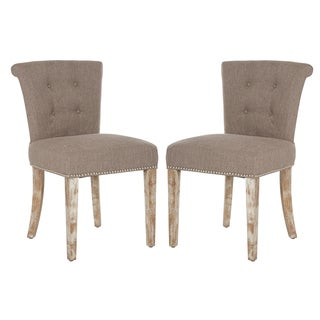 Better Living Lambert Rolled Back Dining Chairs in Sandy Grey Linen (Set of 2)
