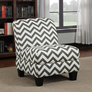 Better Living Alton Armless Chair in Charcoal Grey Chevron Stripe