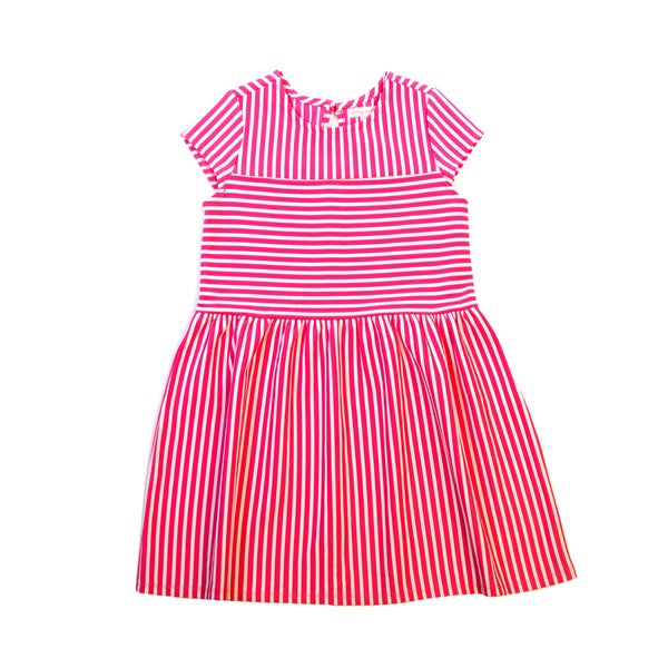 Girls' Cap Sleeve Pink Striped Dress