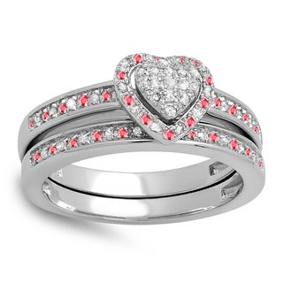 Sterling Silver 1/4ct Ruby and White Diamond Heart Bridal Set (I-J, I2-I3)