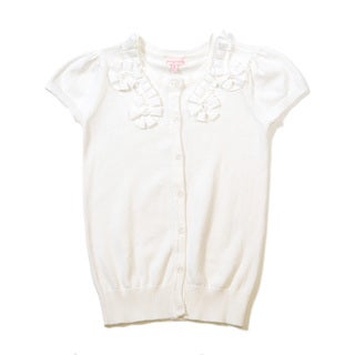 Girls' Short Sleeve Button Front Ampled Cardigan