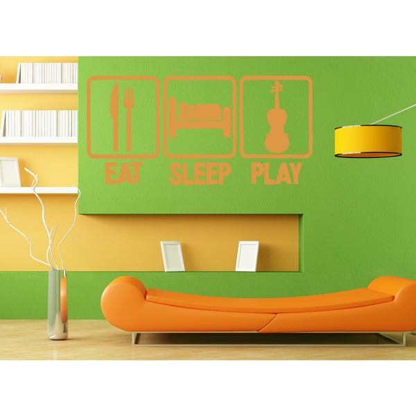 Eat Sleep Play Guitar Wall Art Sticker Decal Orange
