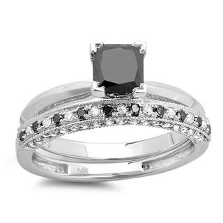 10k White Gold 1 1/2ct TDW Princess-cut Black and White Diamond Bridal Set (H-I, I1-I2)