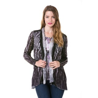 High Secret Women's Multi-fabric Two-in-one Long Sleeve Cardigan